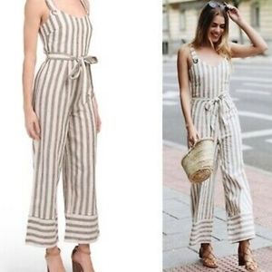 Romeo and Juliet linen striped belted jumpsuit